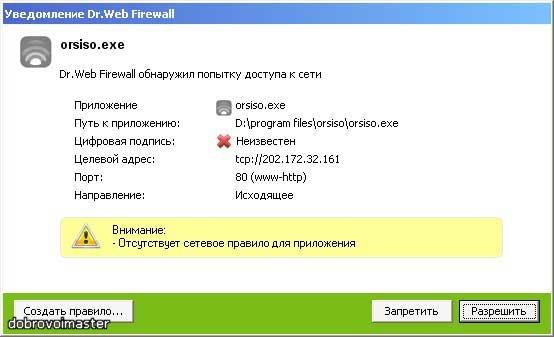 Уведомления Dr.Web Firewall