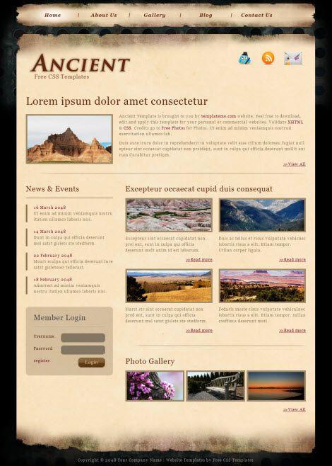 Стильный CSS шаблон для сайта - Ancient