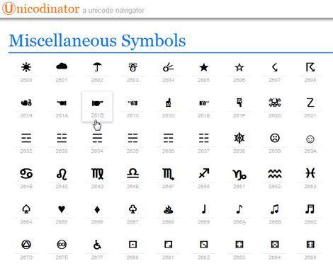 Онлайн библиотека символов UNICODE