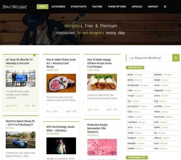 Showcase - отзывчивая тема блога  WordPress