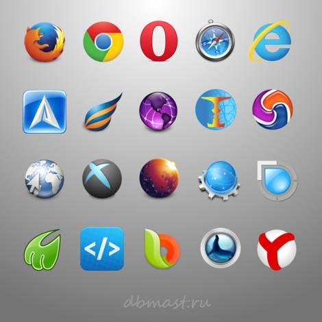 Логотипы браузеров с названиями