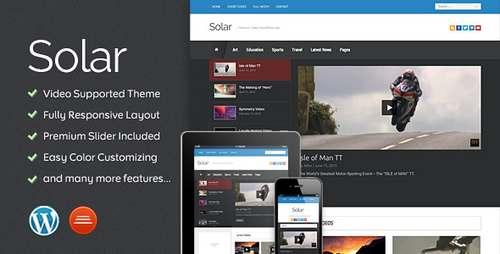 Solar - Блоговая видео тема WordPress