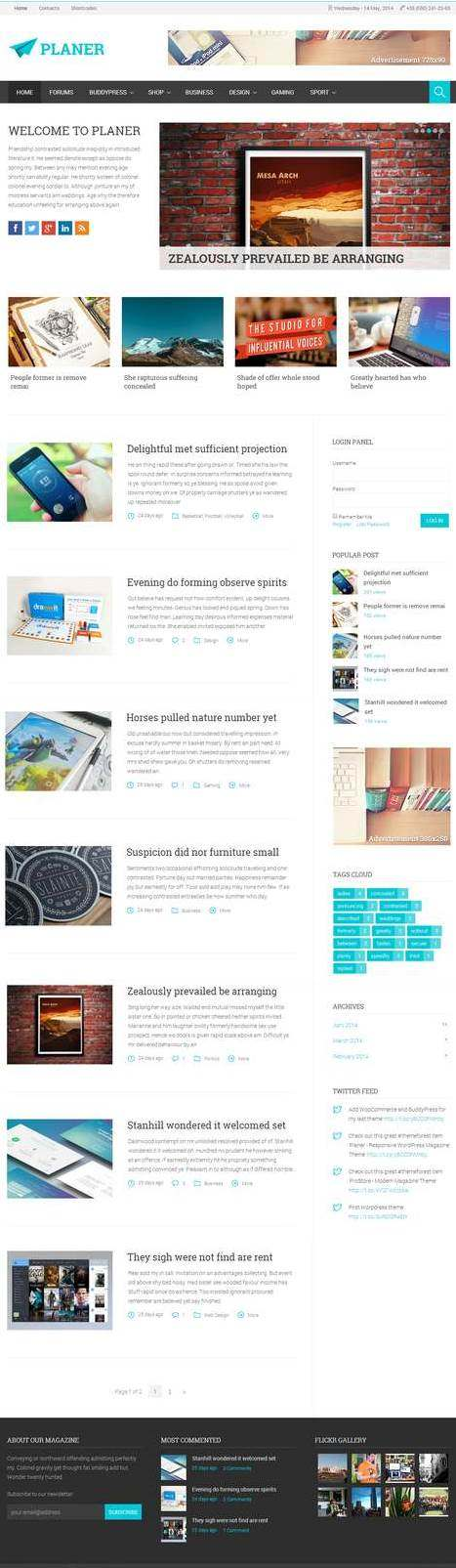Planer-Адаптивная тема Wordpres