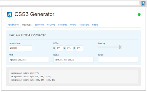Hex / RGBA Converter - CSS3 Generator