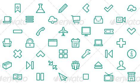Набор очерченных иконок