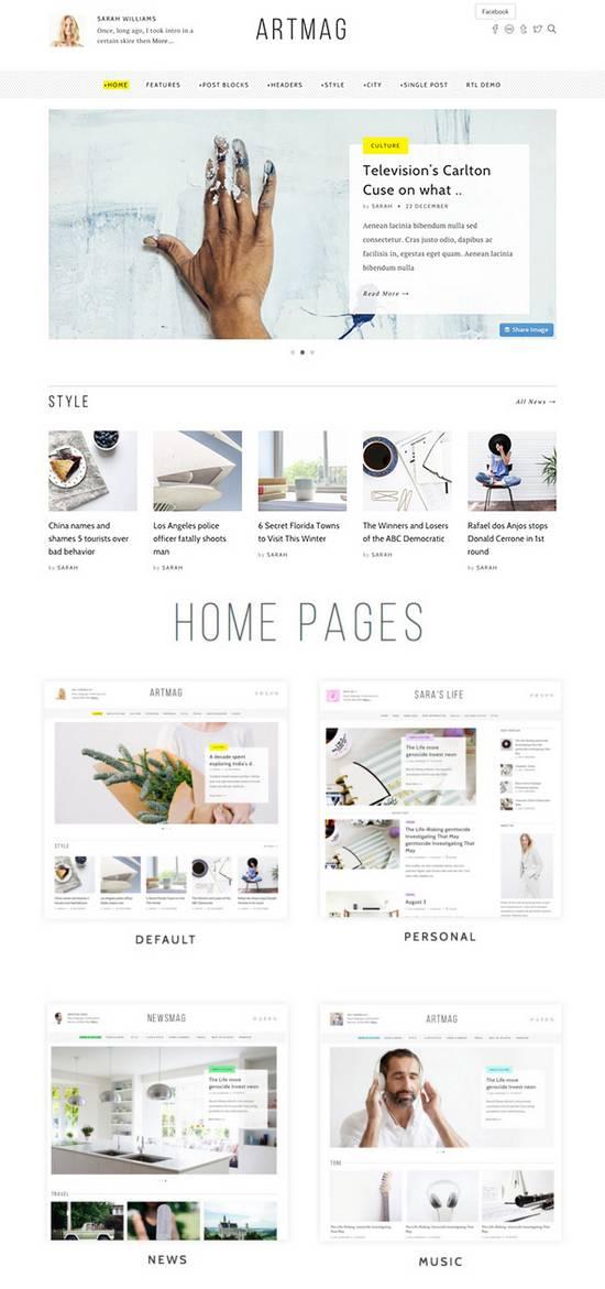 Artmag - Чистая WordPress  Тема для блога/журнала