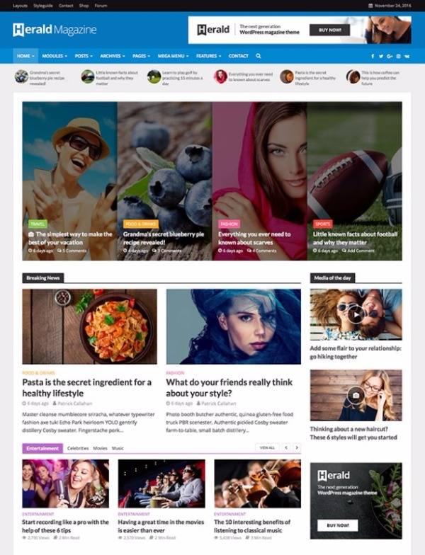Herald - Лучшие темы WP ноябрь 2016