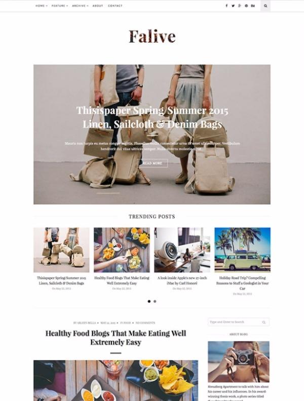 Faive- творческая и стильная тема для блога.