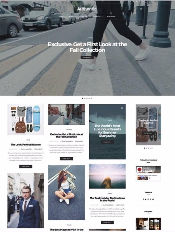 Authentic - Журнальная тема для блогов WordPress