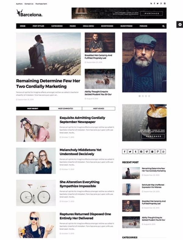 Барселона -  Новостая Журнальиая WordPress тема
