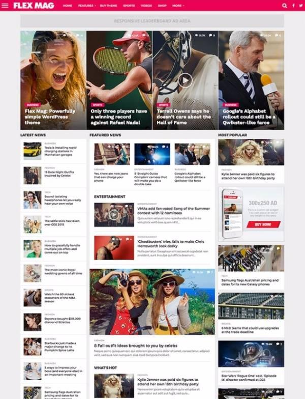Flex Mag - Отзывчивая новостная тема WordPress