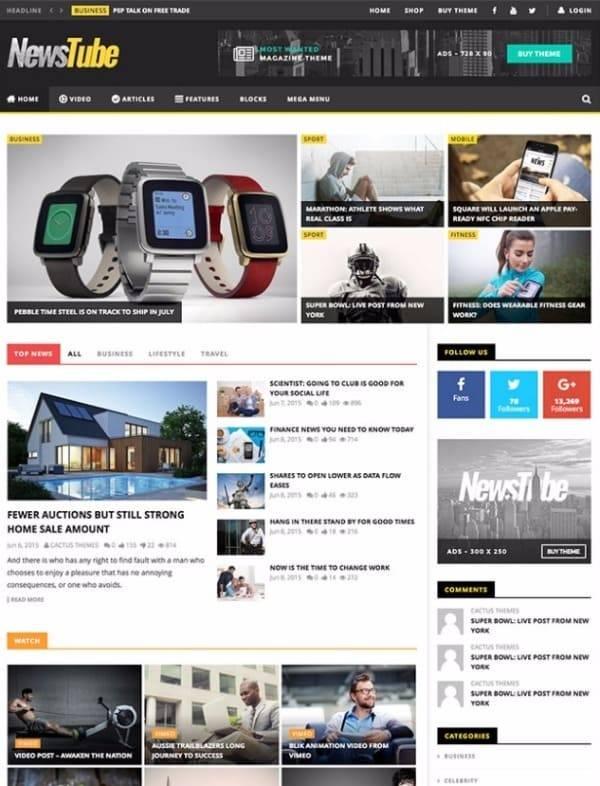 Newstube - Журнал Блог & Видео тема WordPress