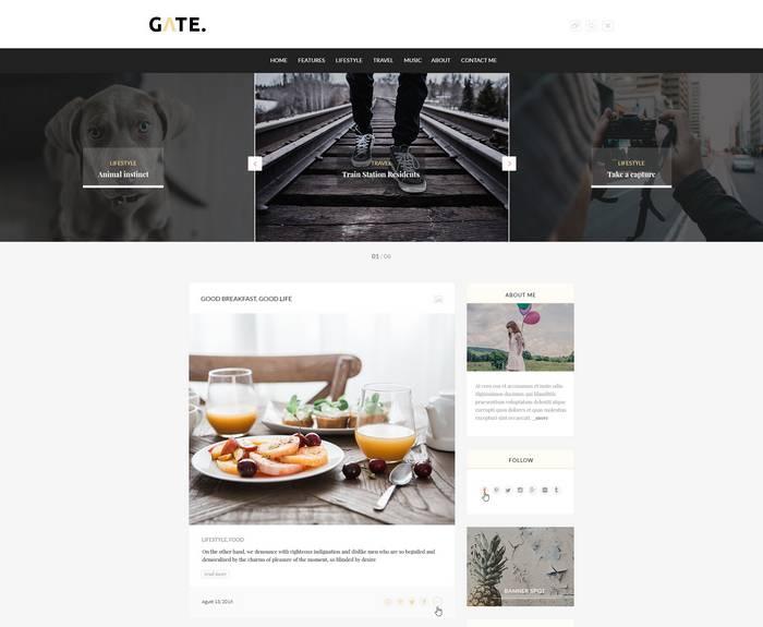 Gate - Отзывчивая блог тема WordPress премиум-класса