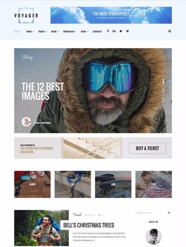 Voyager - Творческий блог WordPress Тема