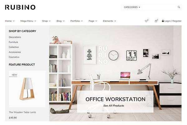 Rubino - Минималистичная и творческая тема WooCommerce