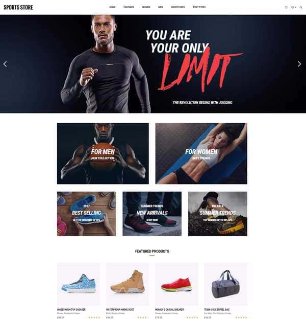 Sports Store - Спортивный магазин на WordPress