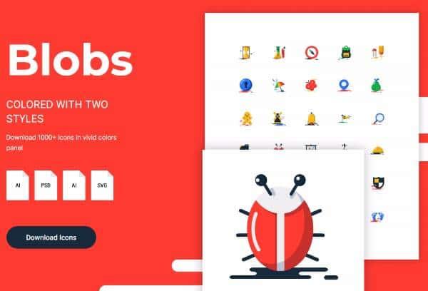 Blobs - Набор плоских иконок