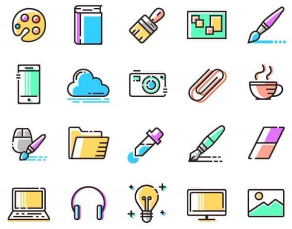 Цветные контурные иконки
