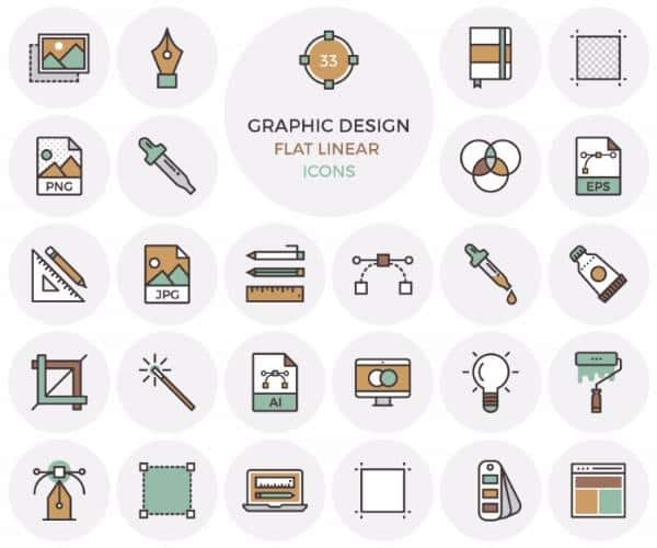 Иконки с плоским графическим дизайном