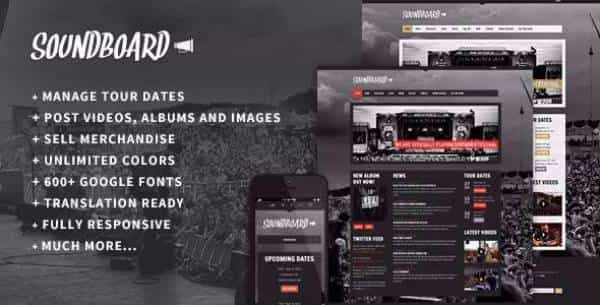 Soundboard - Превосходная музыкальная WordPress тема