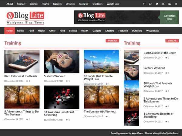 eBlog Lite - современная, чистая, красочная и отзывчивая тема WordPress