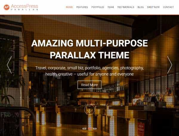 AccessPress Parallax - бесплатная одностраничная тема WordPress