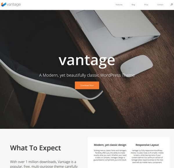 Vantage - бесплатная, многоцелевая тема WordPress