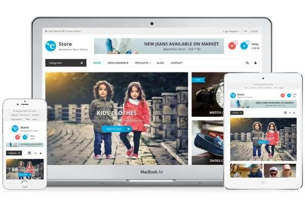 eStore - одна из лучших бесплатных тем WordPress для веб-сайтов электронной коммерции