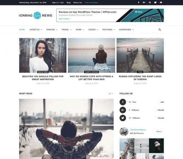 ionMag - замечательная тема WordPress в журнальном стиле