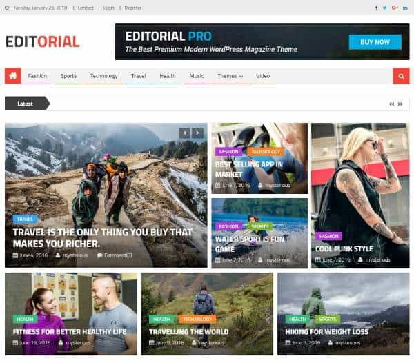 ditorial - бесплатная, отзывчивая тема WordPress