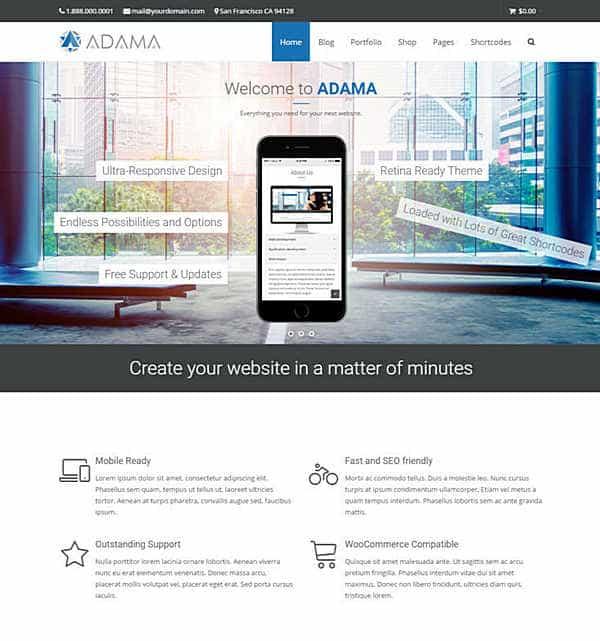 Adama - многоцелевая тема WordPress