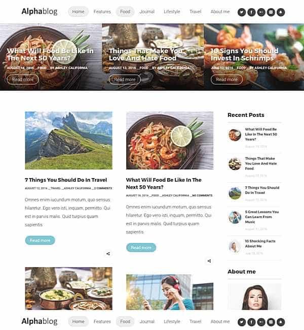 Alpha-Blog - чистая отзывчивая блог-тема WordPress