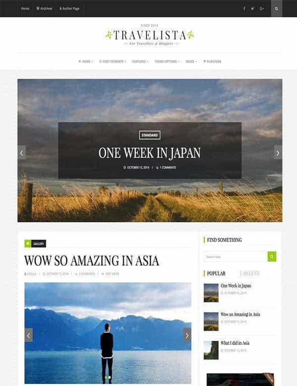 Travelista - быстрая блог тема WordPress