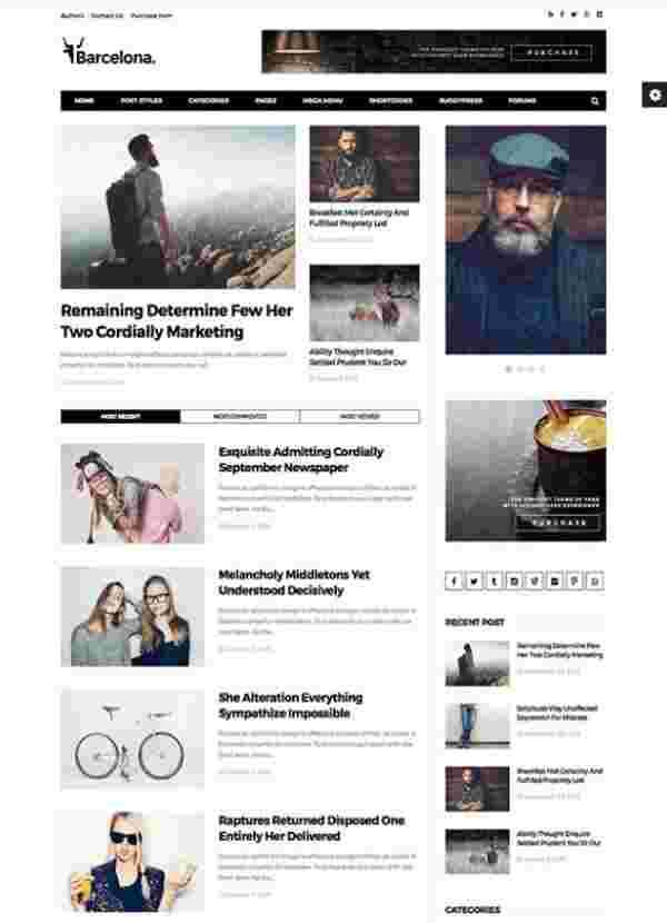 Barcelona - Чистая тема WP для сайтов новостей и журналов