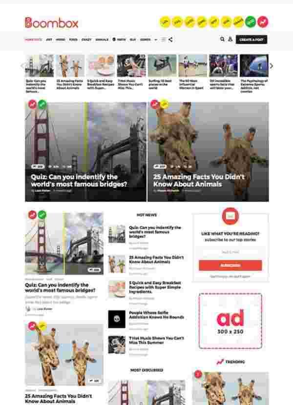 BoomBox - Вирусная тема WordPress для онлайн-журналов