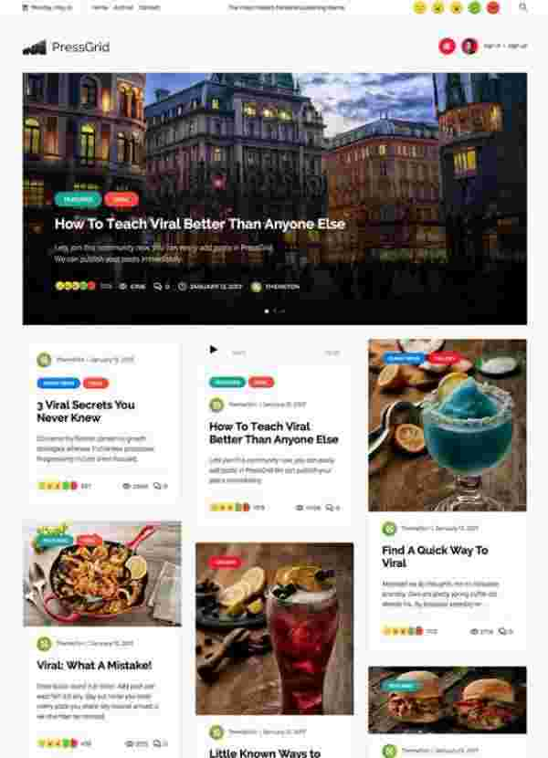PressGrid - Журнальная тема WordPress