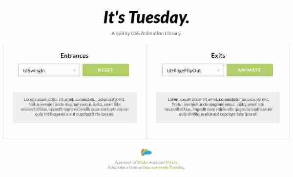 Tuesday -Библиотека анимации CSS