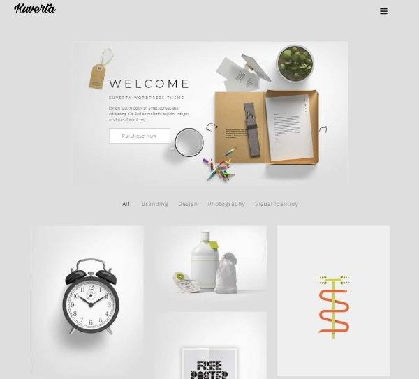Kuverta - Минималистская тема портфолио WordPress