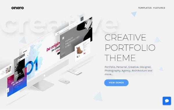 Онеро - Творческая тема портфолио для профессионалов
