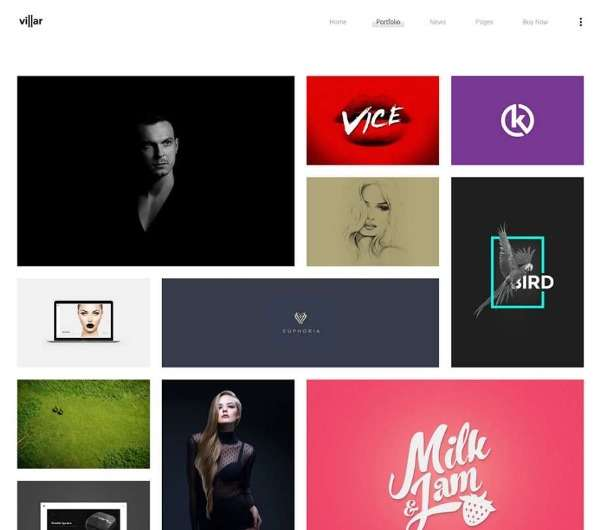 Villar - Творческая портфолио тема WordPress