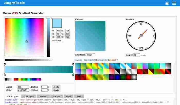 Online CSS Gradient Generator