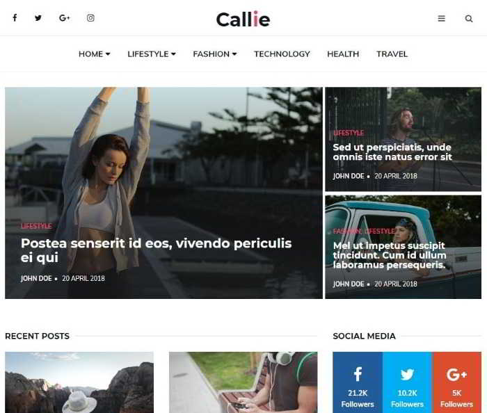 Callie - html5 шаблон для блога