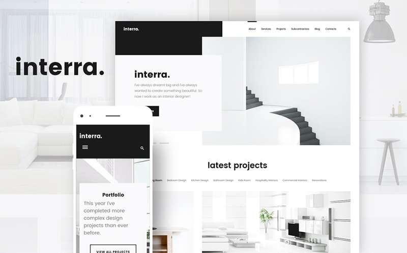 Interra - WordPress тема портфолио дизайнера интерьеров