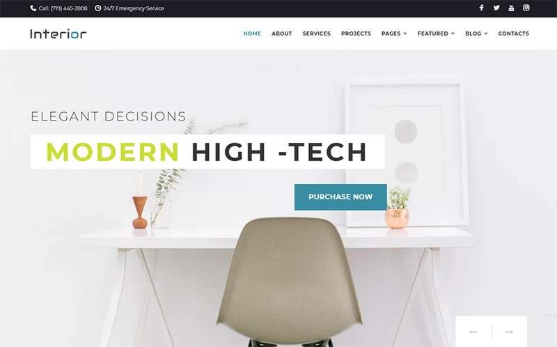 Interior - Отзывчивая тема WordPress для компании интерьер-дизайна