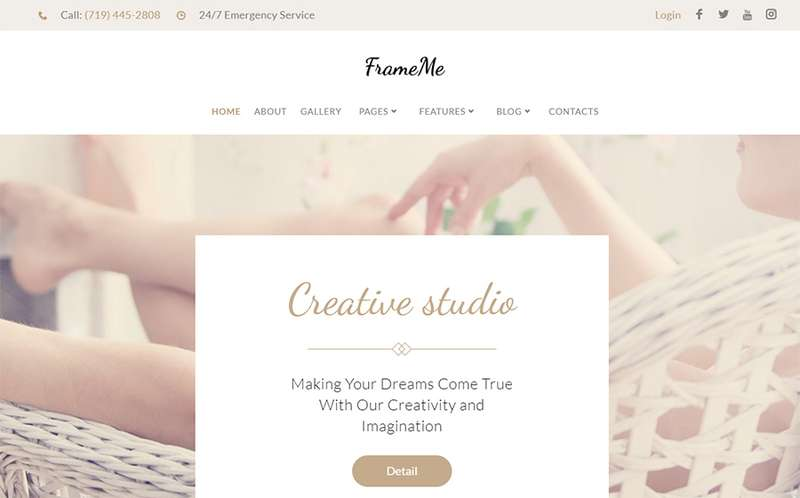 FrameMe - WordPress тема сайта фотостудии