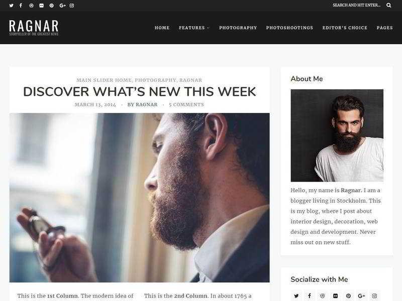 Ragnar - Брутальный WordPress шаблон